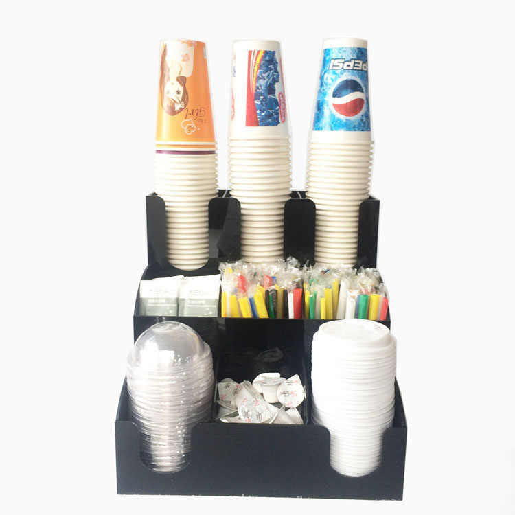 Cup & Lid Dispenser Organizer Coffee Condiment Holder Caddy Coffee Cup Rack new
