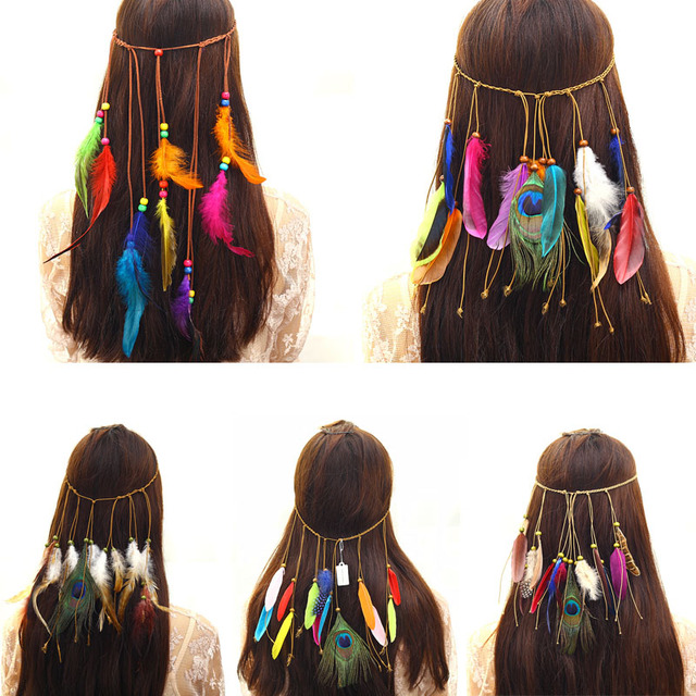 Fashion Bohemia Colorful Peacock Feather Beads Tassels Women Headbands Hair Accessories