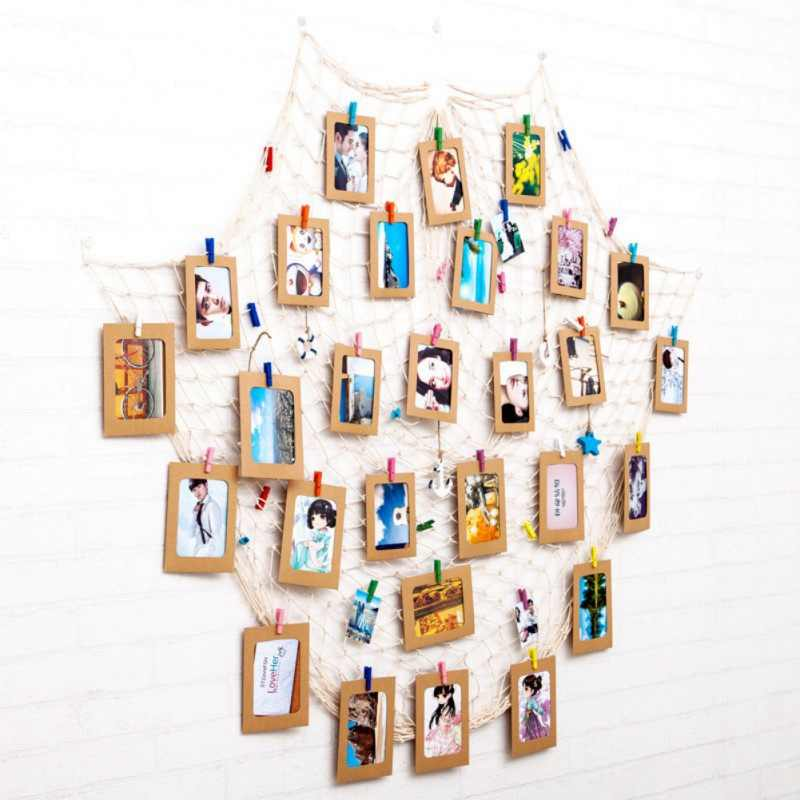 DIY Photo Hanging Display Frame Fishing Net Design Picture Photo Display With Clip And Rope Wall Decor Props