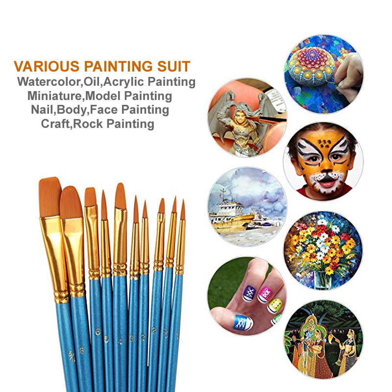 10pcs Artist Nylon Painting Brushes Set For Body Paint Watercolor Acrylic And Oi