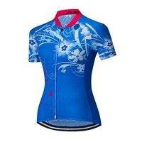רזי רכיבה על אופניים של נשים Weimostar חולצות קיץ חיצוני MTB רכיבה על אופניים ביגוד אופניים ספורט לבן כחול