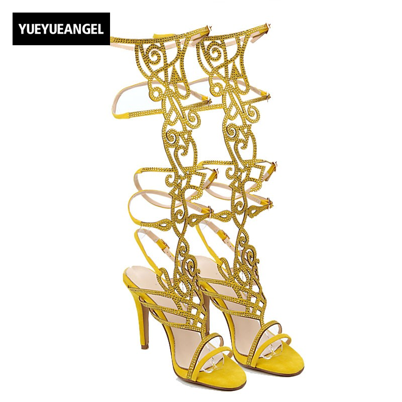2018 New Summer European Women High Heel Sandals Sexy Night Club Hollow Out Crystal Ladies Botas Buckle Strap Gladiator Shoes 2017the mostfashion trends european and american brands genuine flowers ladies luxury short shoes club sexy women s shoes