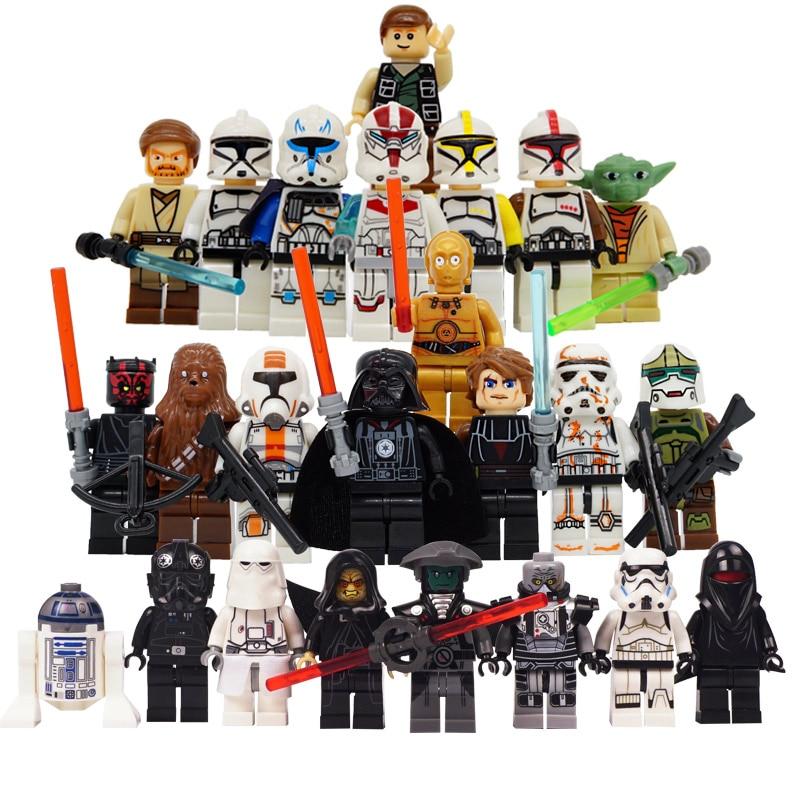 24pcs/lot Star Wars The Last Jedi Yoda Obi-Wan Darth Vader Building Blocks Han Solo Anakin LegoINGlys Starwars Kids Action Toys