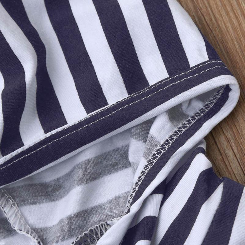 2018 Лидер продаж модные милые 2 шт. одежда для малышей мальчиков платье для девочек в полоску с капюшоном костюм: топ + штаны комплект одежды с...