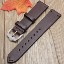 Handmade Retro Genuine Leather Watch Band Strap 18mm 20mm 22mm Man Women Wrist Watchbands Belt Silver Polished Buckle