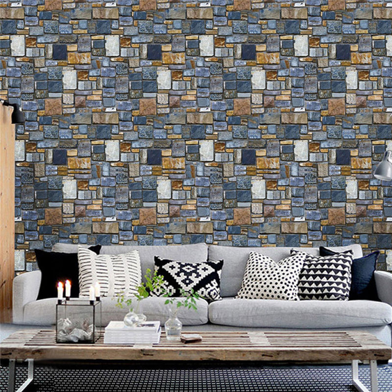6 Styles Rustic Vintage 3D PVC Brick Wall Wallpaper Roll Embossed Texture  Photo Faux Stone Effect Wall Paper Home Decor -in Wall Stickers from Home &  Garden ...