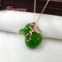 Xin yi peng 18 k rose gold inlaid jade pendant necklace, natural woman, fashion luxury, anniversary gift