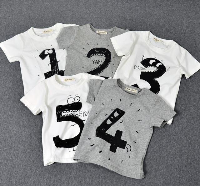 2016 Novo Verão Crianças do Menino Tops Crianças Número impresso Tshirt Do Bebê Meninas bonito 1 2 3 4 5 T Camisa de Manga Curta Camiseta Enfant