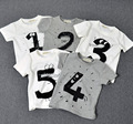2016 Nuevos Niños del Verano del Muchacho Tops Niños Número impreso Camiseta de los Bebés lindo 1 2 3 4 5 T Camisa Manga Corta Camiseta Enfant