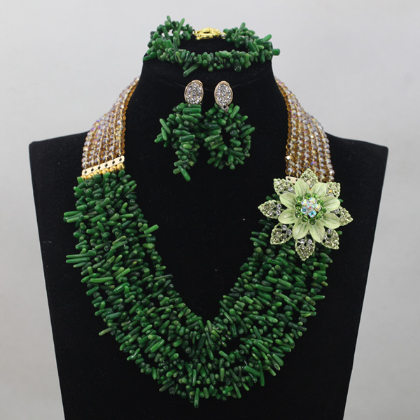 Gorgeous Gold African Crystal Beads Jewelry Set Green Coral Nigerian Wedding Engagement Beads Jewelry Set Free