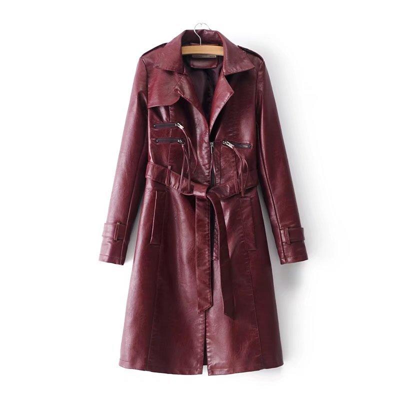 Pu De Rue Avec Tops Mode Chaqueta Cuir Manteau Femmes bourgogne En Tranchée Automne Kobykoyi Mujer Pour Noir Ceinture rose Izq8YBw