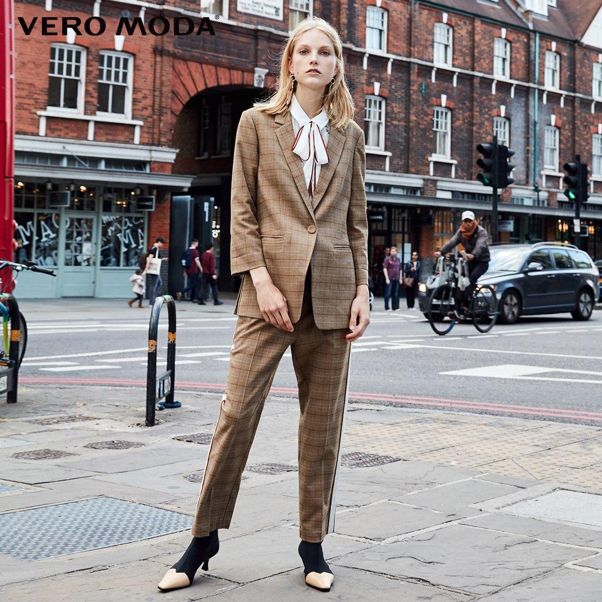 Vero Moda Three-Quarter  Sleeves Plaid Long Jacket Blazer |318308518
