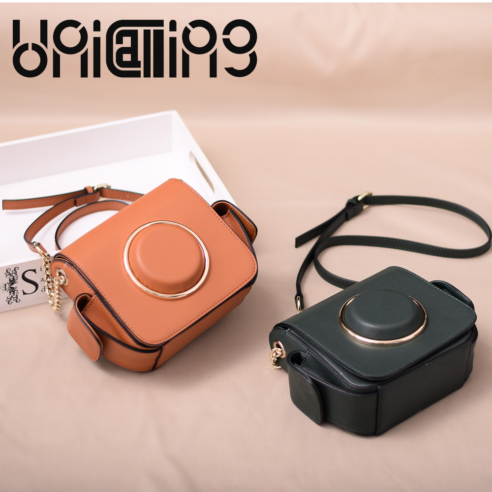 New style luxury Camera Bag tidal current crossbody bags for women Chain mini women bag All match Split Leather shoulder bags