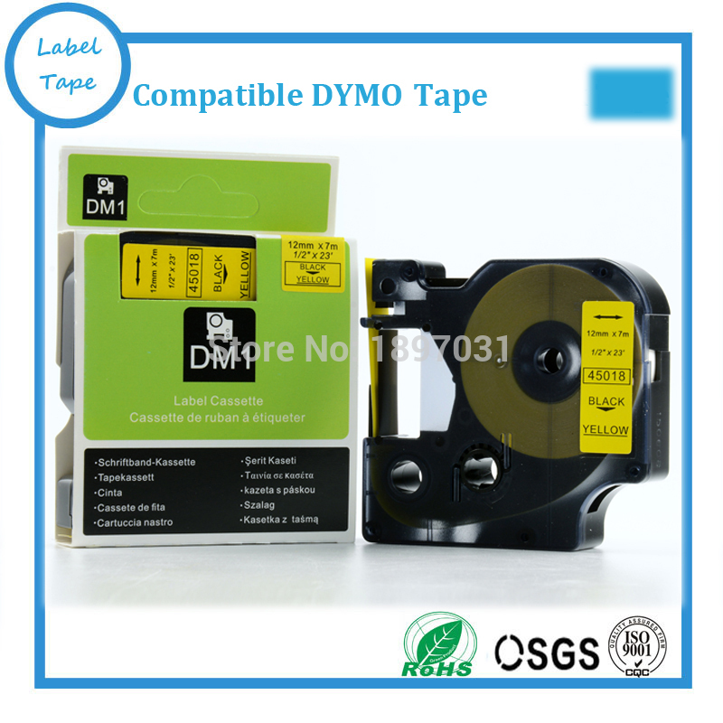 "8PK 12mm x 7m 45018 Black Yellow Label Tape Compatible For DYMO D1 1//2/"" x 23' ST"