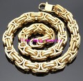 "7""-40"" Choose High Polished 316L Stainless Steel 15MM Gold Plated Byzantine Chain Necklace Heavy New Men's Jewelry"