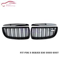 E90 Front Kidney Grill Pre facelift Dual Slat Grille for BMW 3 Series E90 E91 Sedan Wagon 2005 2006 2007 Gloss Black Hood Mesh
