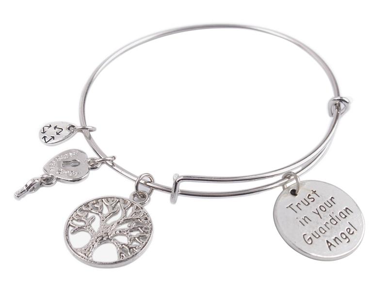 5PCS Expandable metal Wire Bangle Trust in your Guardian Angel Charm Bracelet #92064