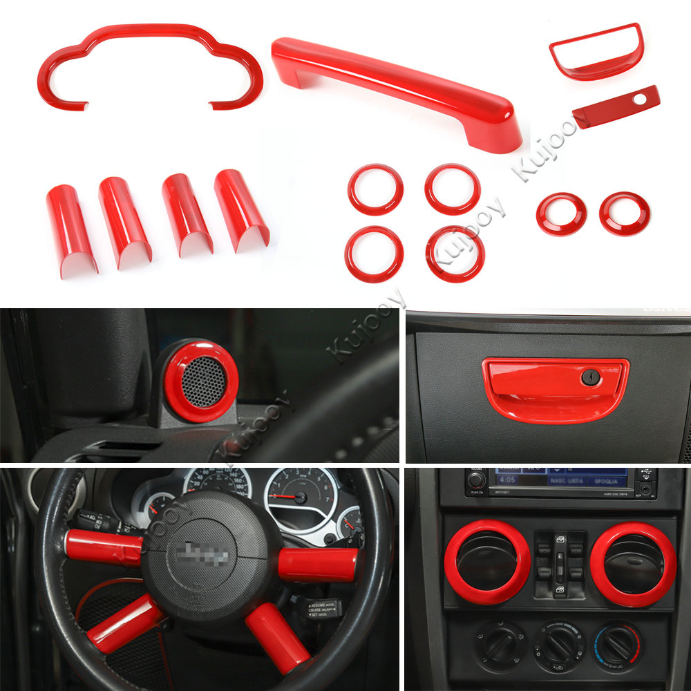 Red/ Blue/ Chrome Inner Dashboard Steering Wheel Speaker Air Vent Decor Cover Sticker Frame Trim for Jeep Wrangler 2007-2010 interior accessories steering wheel wiper turn signals pull rod operating lever cover sticker for jeep patriot compass wrangler