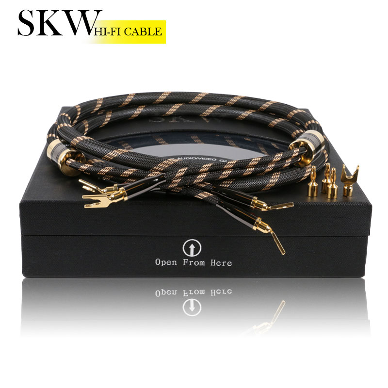 SKW High end Spade+Banana terminal audiophile speaker cord home theater terminal audio cable for hifi amplifier home theater