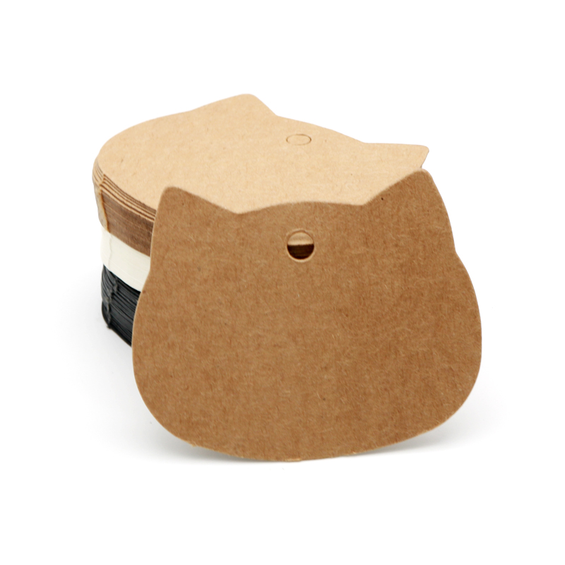 Wholesale 50Pcs/lot Kraft Paper Cards 6.5x5.5cm Black Cardboard Hang Tags Cat Head Shape Jewelry Display Cards Price Label Tags