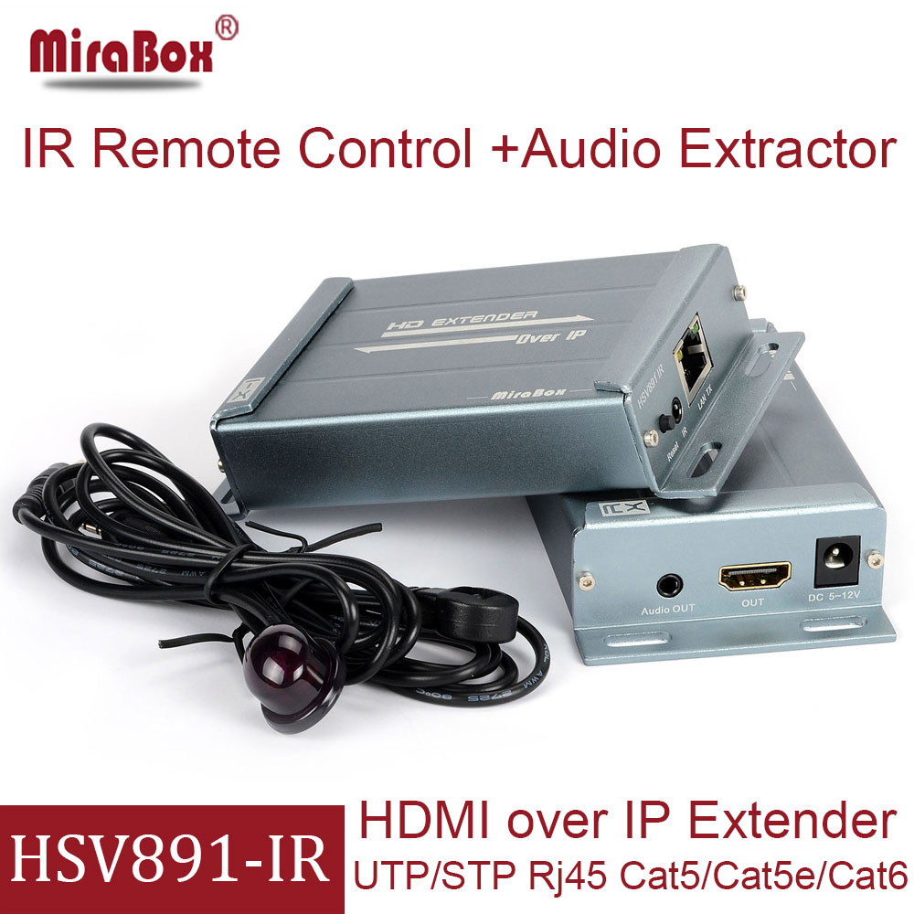 MiraBox HSV891 IR HDMI Extender Support 1080p Full HD over Cat5 Cat6 RJ45 IR HDMI Transmitter and Receiver over IP TCP UTP hdmi over ip matrix by cat5 cat5e hdmi extender support full hd with ir remote and audio extractor transmitter and receiver