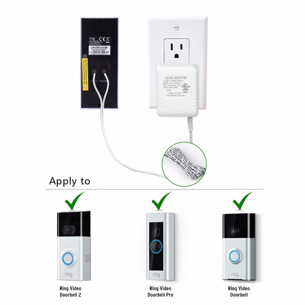 US $7 99 |Hyleton Power Adapter for Ring Video Doorbell 18V 100V 240V  Converter Adapter AC 18V for Ring video doorbell 2 /pro-in AC/DC Adapters  from