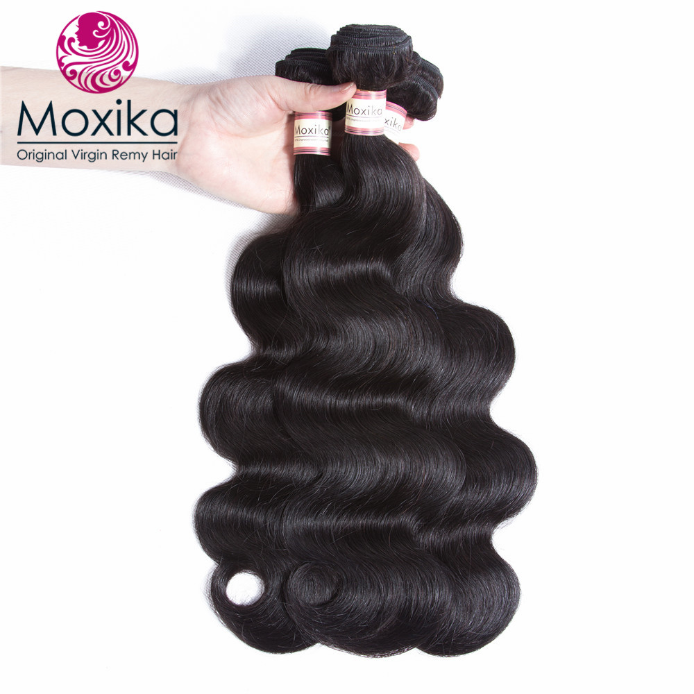 Hair Extensions & Wigs Moxika Hair Brazilian Virgin Hair Body Wave 4 Bundles Can Be Dyed 100% Body Wave Human Hair Weaves Thick 8-28inch Free Shipping Good Heat Preservation