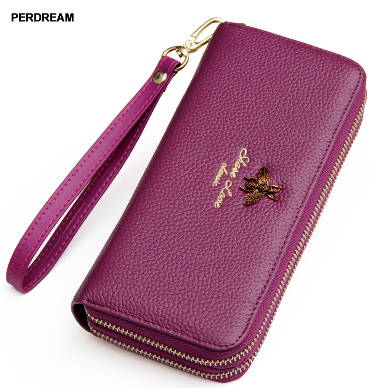 Ladies leather wallet, double zipper handbag, large capacity mobile phone card, Baotou layer 2018 new leather
