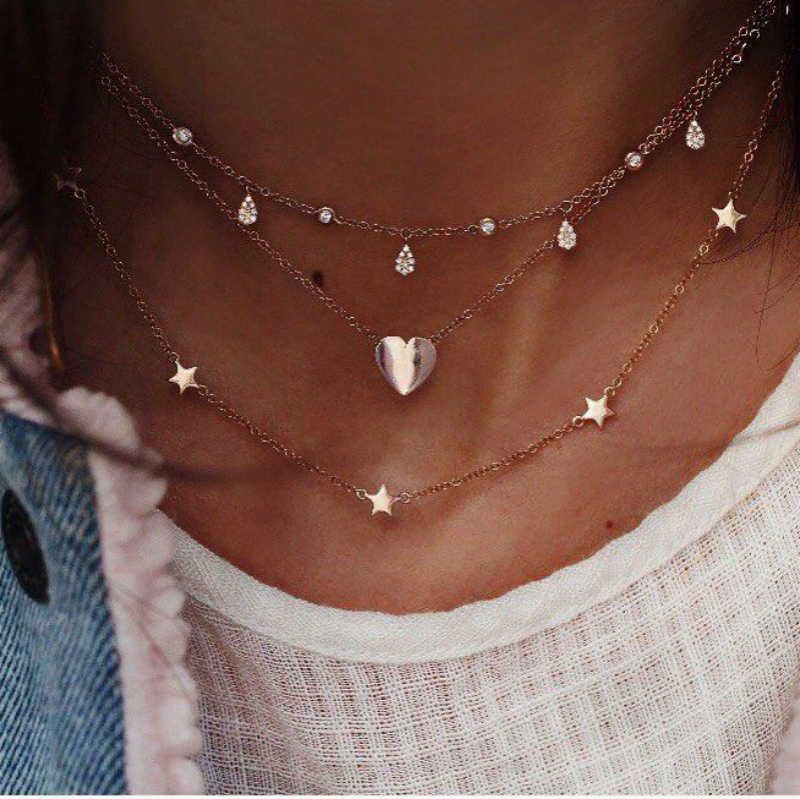 New Fashion Necklace Personality Crystal Heart Heart Pentacle Multi-layer Necklace Women Simple Hot Sell Jewelry Wholesale