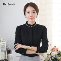 Elegant Ladies Long Sleeve Shirt Autumn White Black Red Cotton Beads Of Women Blouse Work Wear