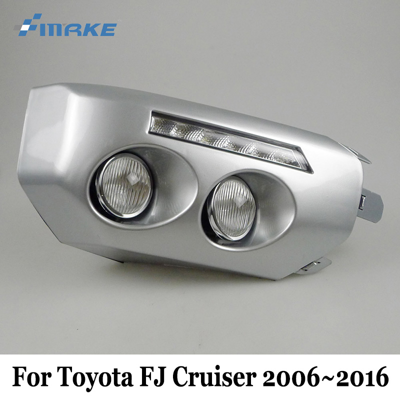 SMRKE DRL For Toyota FJ Cruiser 2006~2016 / Car LED Daytime Running Lights With Auto Fog Lamp / Day Driving Lamp Car Styling smrke drl for mitsubishi asx 2016 present car daytime running lights car styling day driving lamp auto fog lamp frame