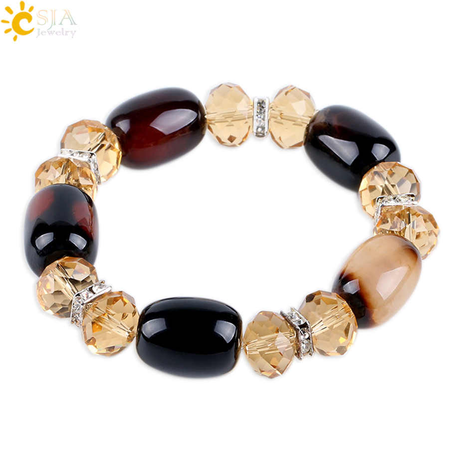 CSJA Vintage Women Men Bracelet Bangle Natural Onyx Rosary Bead Brown Quartz CZ Crystal Mala Bracelets Wrist Charms Jewelry E544