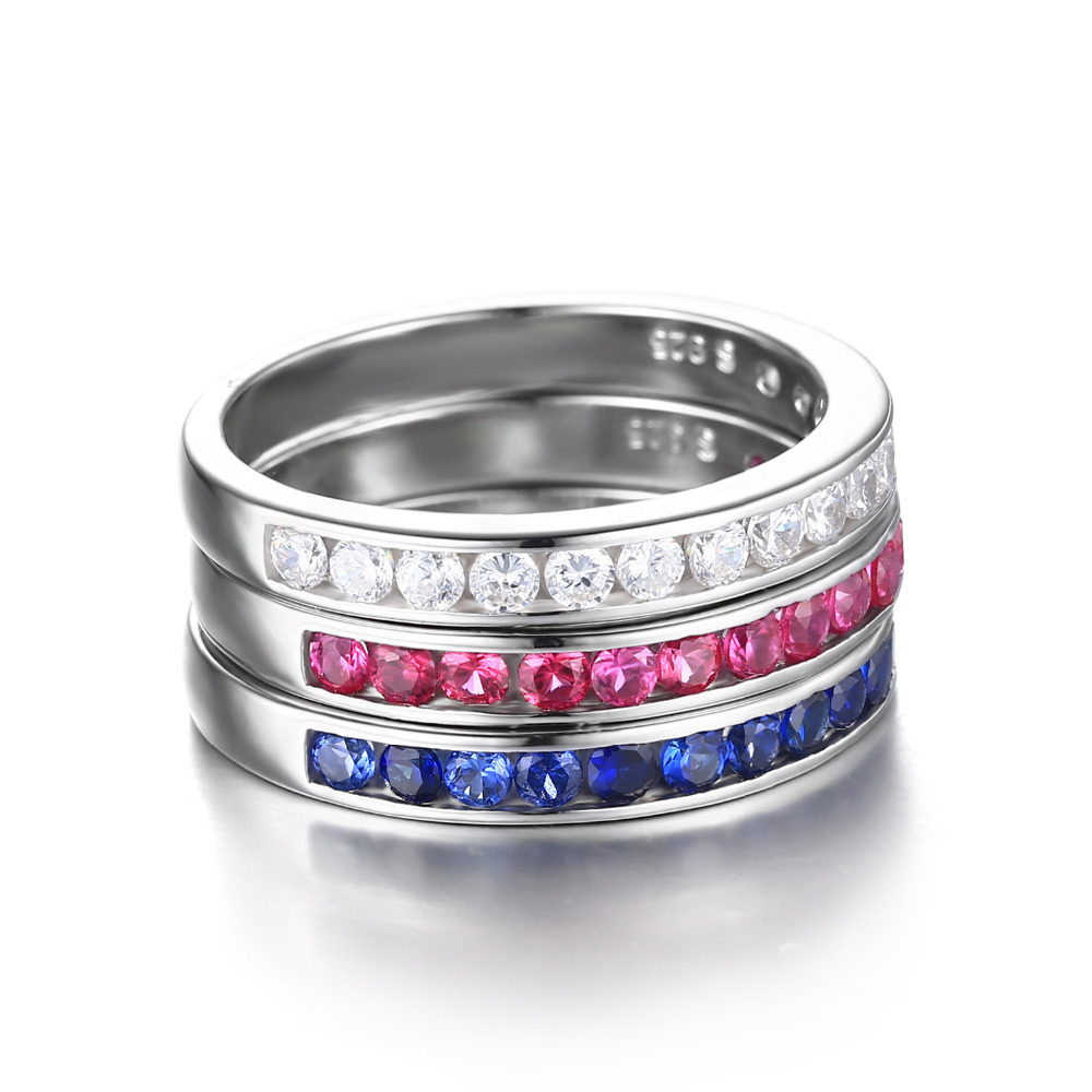 9c1ae69e26 JewelryPalace 925 Sterling Silver three stack 1.8ct Round Created Ruby  Sapphire Wedding Cocktail Band Eternity Ring Fine Jewelry-in Rings from  Jewelry ...