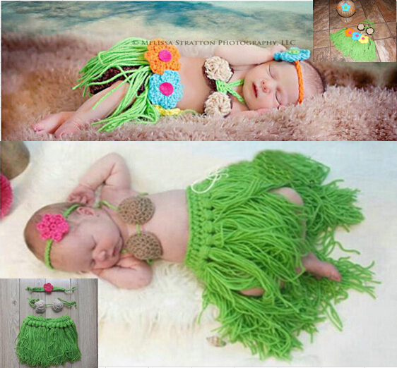 Niña bebé recién nacido Beach Hula falda de hierba de punto de ganchillo fotografía foto atrezzo, niña tocado coconut bra hierba sistemas de la falda