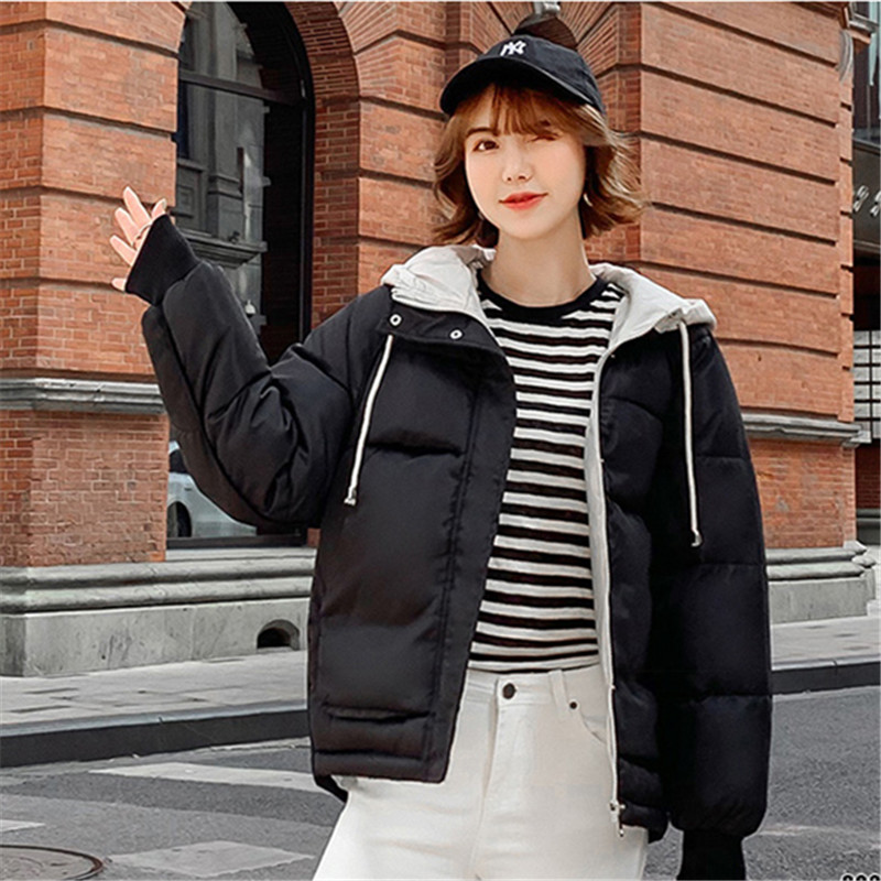 Solid Loose   Parka   Jacket Winter Padded Coat 2019 New Hooded Zipper Women Warm Cotton Winter Womens Padded Overcoat Casaco Basic