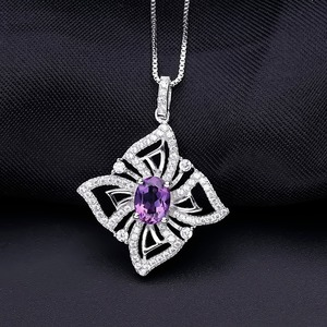Image 2 - GEMS BALLET 1.30Ct Oval Natural Amethyst Gemstone Butterfly Pendant Necklace For Women 925 Sterling Silver Fine Jewelry