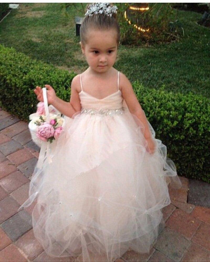 Wedding Toddler Flower Girl Dresses aliexpress com buy new arrival toddler ball gowns flower girl dress 2016 lovely tulle floor length crystal bow spaghetti straps c