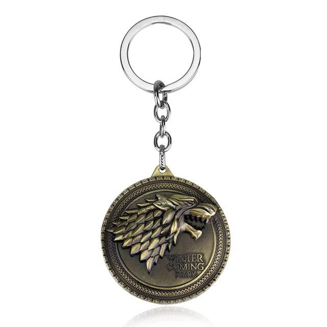 Miễn phí vận chuyển Game Of Thrones Móc Chìa Khóa Có Song Of Ice Và Fire Baratheon Stark Arryn Tully Greyjoy Martel Keychain