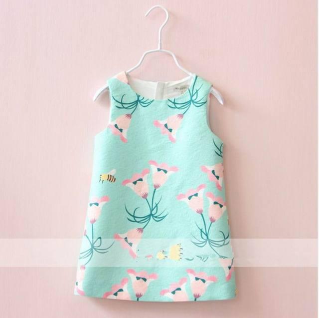 2016 Otoño Nuevo Vestido de La Muchacha Morning glory Flower Bee Print Party Vestido de Tirantes Chica Gruesa Chaleco Vestido de Los Niños Ropa 2-10 T 310734