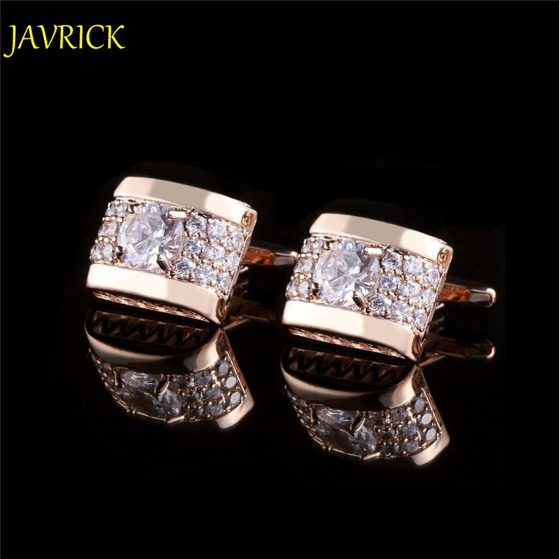 JAVRICK 1Pair Crystal Rhinestone Mens Golden Silver Shirt Cufflinks Wedding Party Gift ZB380(China)