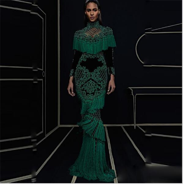 7e1e05ec1520c YÜKSEK KALITE Yeni Moda 2016 Pist Maxi Elbise kadın Hollow Out Lüks El Işi  Boncuk Püskül