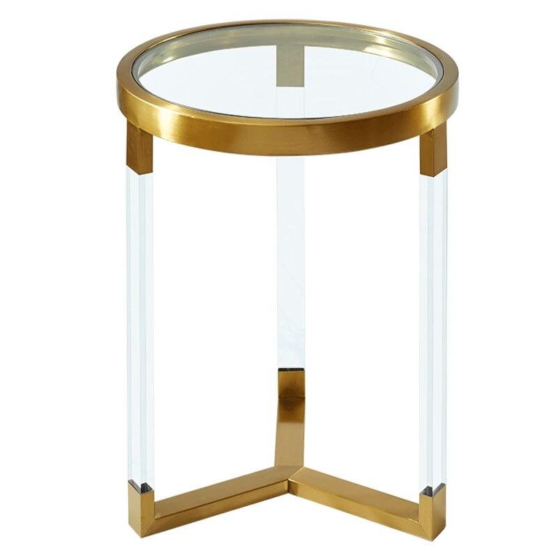 Прозрачный журнальный столик/Акриловые ножки и позолоченные металлические аппаратные соединения