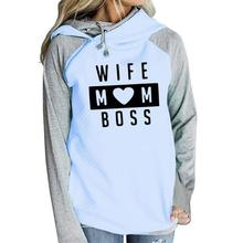 2019 WIFE MOM BOSS Spring Fashion Pattern Print Sweatshirts Kawaii Hoodies Women Hoody Cotton Cute Printing Creative