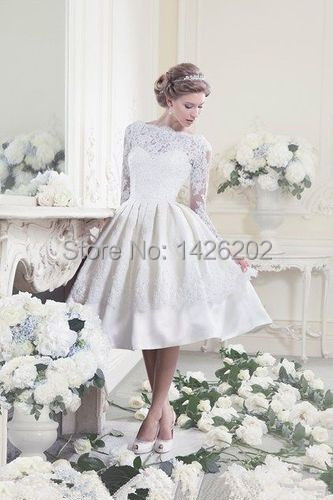 Fantanstic Sexy Short Lace Wedding Dress Modest Girl Lace Long Sleeve  Backless Wedding Gowns WM-0350 wedding dress bride 50a9af06b4ad