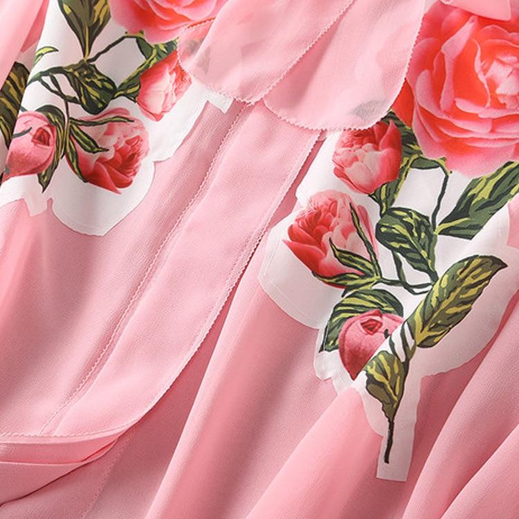 Rosa Manga Apliques 2018 Y Mujeres Larga Tops Blusas Seda Elegante Camisas Gasa Runway xHCqTYwWIH
