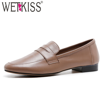 WETKISS 2019 New Spring Women Flats Square Toe Footwear Fashion Casual Female Loafers Shoes Genuine Leather Shoes Woman Black