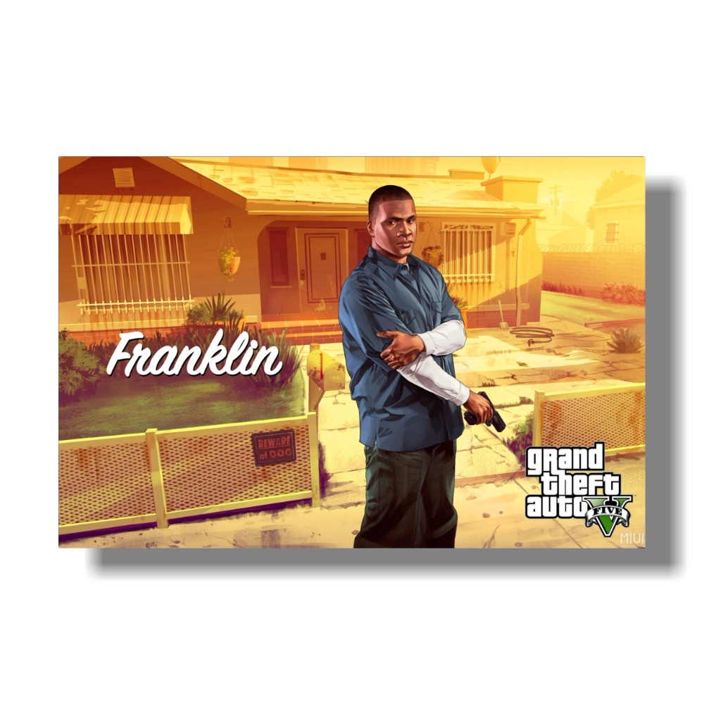 Grand Theft Auto V Art Silk Print Fabric Poster Game Hot GTA 5 - Տնային դեկոր - Լուսանկար 3