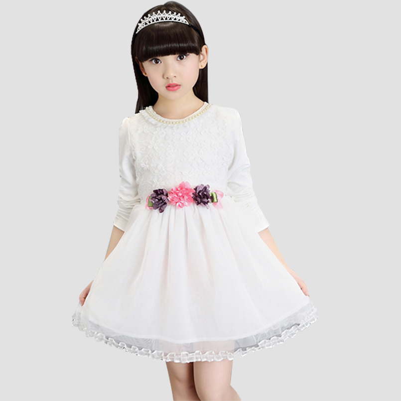 Fashion Dresses for Girls Formal Clothes Casual Kids Clothing Student Dress Children Costumes 2T-12 Infant Flower Dress Vestdios