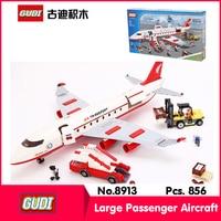 GUDI 8913 856Pcs Technic Series Large Passenger Aircraft Model Building Blocks Set Bricks Toy Compatible Legoe