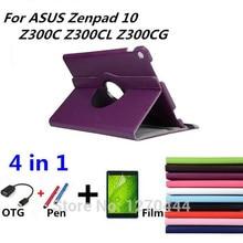 360 Rotating funda de Cuero Litchi piel capa para para asus zenpad 10 z300c z300cl z300cg tablet pc para asus + OTG + Pen + Película